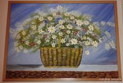 Virágkosár, olajfestmény keretben, 50 x 70 cm