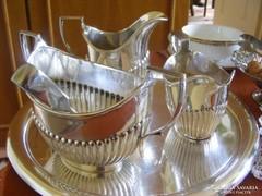 Meseszép angol ezüstözött teás készlet ajándék tálcával