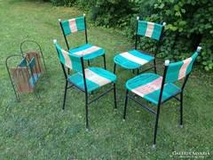 Retro kerti garnitúra csővázas szék 4db