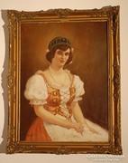 Fiatal asszony portréja  - olajfestmény. Szignált!