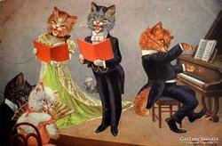 Arthur Thiele képeslap-Cicák/macskazene gyűjteményből 1928