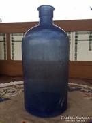 Antik jelzett kék nagyméretű üveg palack