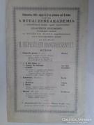 A Budai Zeneakadémia hangversenyének szórólapja 1907-ből
