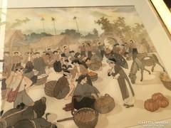 Selyemre festett kínai kép
