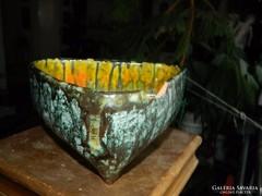 MIHÁLY BÉLA kerámia ikebana tál - SÉRÜLT