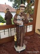 Antik nagyméretű Szent Antal a kis Jézussal gipsz szobor