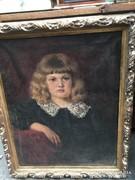 Régi szignós kislány portré