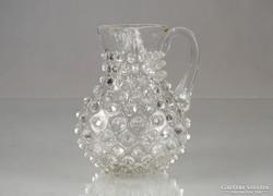 0M200 Antik bütykös fújt üveg kancsó 1850