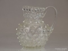 0M201 Antik bütykös fújt üveg kancsó 1850