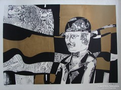 Szász Endre (1926 - 2003) : Gondolat (szitanyomat) 47x67 cm!