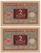 Németország 2 német Márka, 1920, UNC, 2 db sorszámkövető
