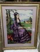 Tűgobelin nagy méretű Lila ruhás nő