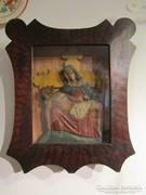 Antik faragott festett fa Mária szobor máriaházzal pieta