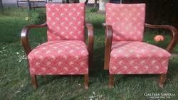 Vidám virágos antik art deco szép íves karfás rugós fotel