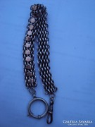 Antik ezüst tiszti zsebóra lánc arany berakásos