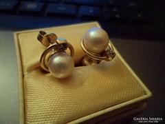Arany fülbevaló / gyémánt,gyöngy