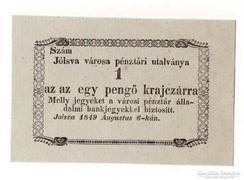 Jólsva 1849 1 krajcár UNC.