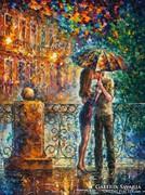 Leonid Afremov: Kiss under umbrella