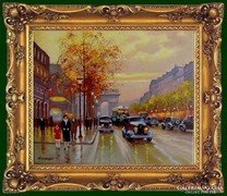 Párizsi utca Obermayer olaj vászon festmény