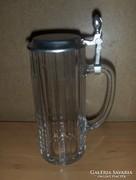 Ón fedelű üveg söröskorsó 0,5 liter (K)