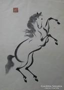 Wakyosai: Zen ló - Japán fametszet