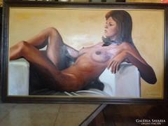 Hatalmas méretű! Szép női akt olaj-farost festmeny