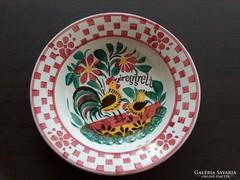 Antik hollóházi dísztányér, fali tányér, baromfiudvaros