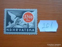 HORVÁTORSZÁG 32+16 KUNA 1944 Vasúti kerék POSTATISZTA 261.