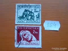 HORVÁTORSZÁG 1+2 KUNA 1944 HÁBORÚS HOZZÁJÁRULÁS 264.