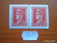 HORVÁTORSZÁG 0,25 KUNE 2 DB 1944  Dr. Ante Pavelić 269.