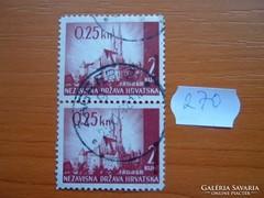 HORVÁTORSZÁG 0,25 / 2 KUNE 1942  2 DB TÁJAK ZAGREB 270.