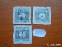 HORVÁTORSZÁG 1+2+5 KUNA 1942 PORTÓBÉLYEG  272.