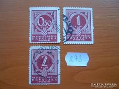 HORVÁTORSZÁG 0,5+1+2 KUNA 3 DB 1941 PORTÓBÉLYEG  273.