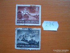 HORVÁTORSZÁG 3,50+12,50 KUNA 2 DB 1943 VÁRAK 276.