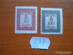 HORVÁTORSZÁG 50+100 KUNA 2 DB 1942 HIVATALÓS POSTATISZT 277.