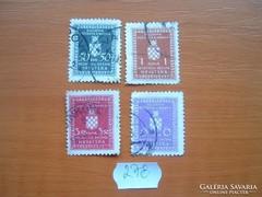 HORVÁTORSZÁG 0,50-6,00 KUNA 4 DB 1942 HIVATALÓS 278.