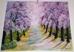 Cseresznyevirág, farost - vászon, akrillal festett tájkép