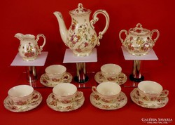 Zsolnay kávéskészlet pillangós 6 személyes gyönyörű