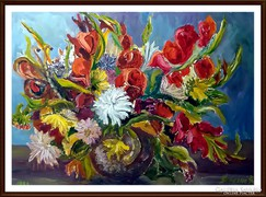 Duda Margit eredeti olajfestménye, 46 x 65