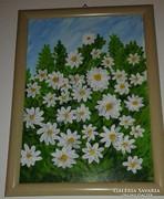 Margaréták, akrillal festett kép keretben