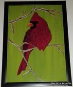 Kardinális madárka, akrillal festett kép keretben