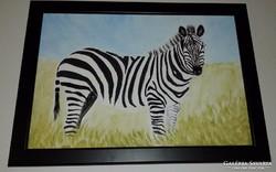A zebra, akrillal festett kép keretben