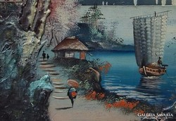 Japán tájkép, olaj-tempera 1800-as évek.