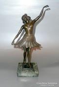 Szecessziós bronz balerina szobor márvány talapzaton