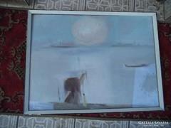 Áron Nagy Lajos olaj farost festménye Reggel a Dunán