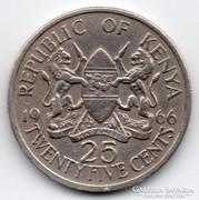 Kenya 25 cent, 1966, hátoldali körirat nélkül, ritka