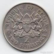 Kenya 2 Schilling, 1966, hátoldali körirat nélkül, ritka