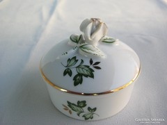 Hollóházi porcelán rózsafogós Erika mintás bonbonier