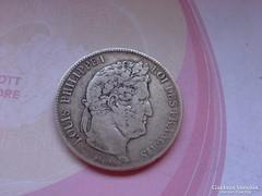 1838 ezüst francia 5 frank 25 gramm 0,900