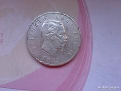 1873 Olasz ezüst 5 líra 25 gramm 0,900, keresett érme